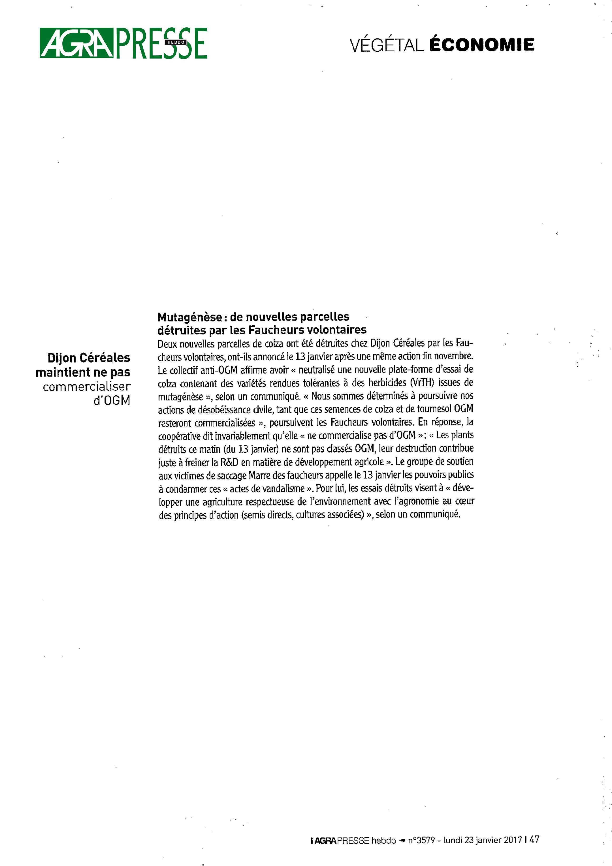 Mutagénèse - de nouvelles parcelles détruites par les FV